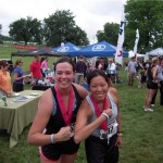 Amanda Hager and Andi Christenson after completing the Win for KC Triathlon in Kansas City, Missouri on August 1st, 2009.